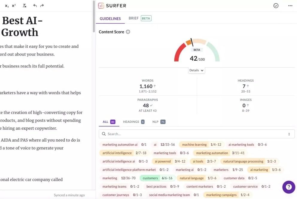 Surfer SEO content editor