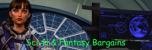 Sci Fi and Fantasy Bargains A doll like figure on what might be the bridge of an airship, with a screen featuring a planet that could possibly be earth, but probably isn't.