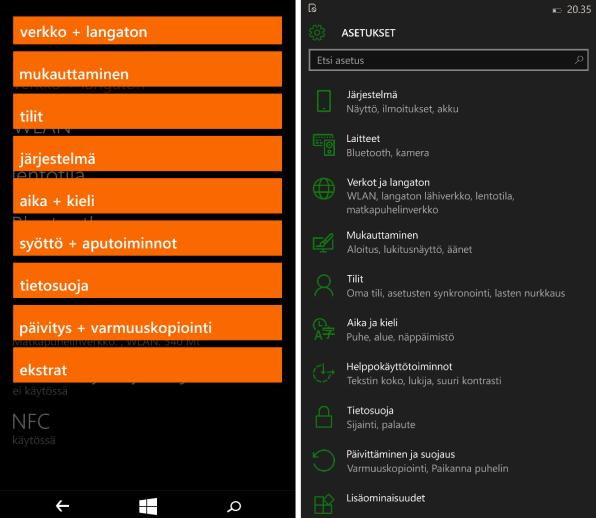 Windows Phone 8.1:n asetukset vasemmalla ja Windows 10:n oikealla