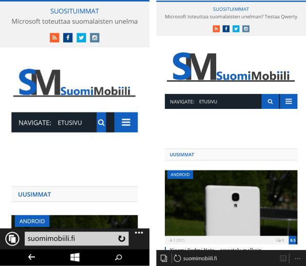 Windows Phone 8.1:n selain vasemmalla ja Windows 10:n oikealla