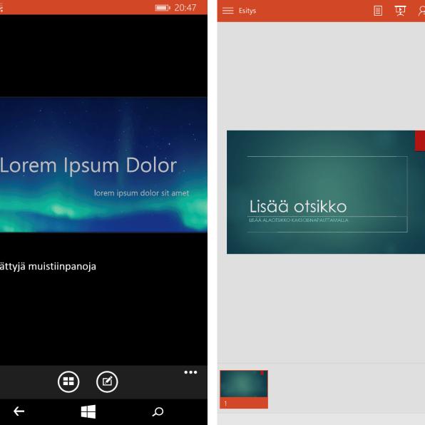 Windows Phone 8.1:n PowerPoint vasemmalla ja Windows 10:n oikealla