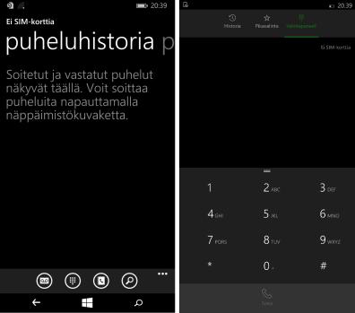 Windows Phone 8.1:n puhelut vasemmalla ja Windows 10:n oikealla