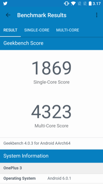 OnePlus 3T Geekbench 4