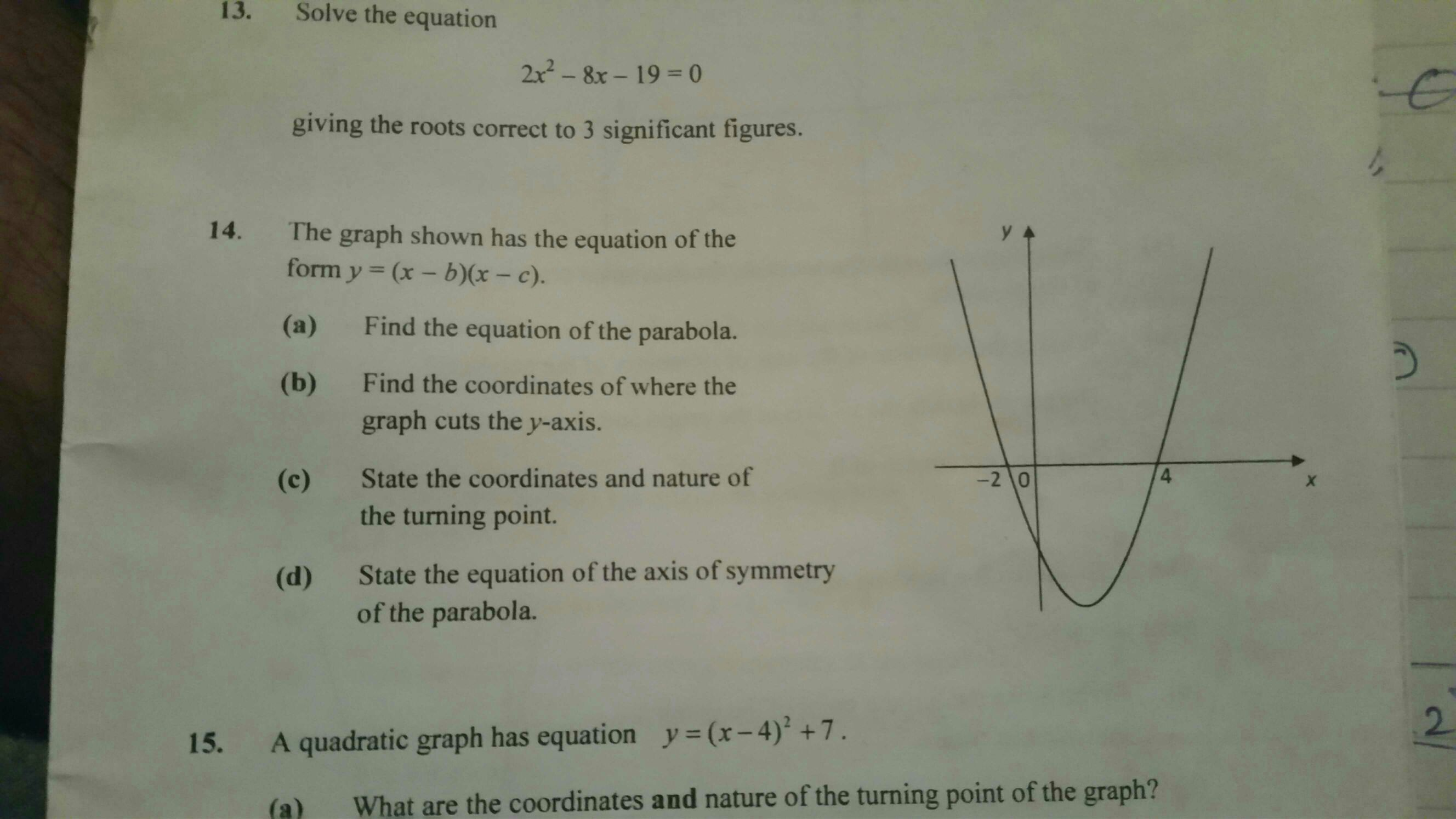 Equation Of Parabola Given 2 Points And Axis Symmetry