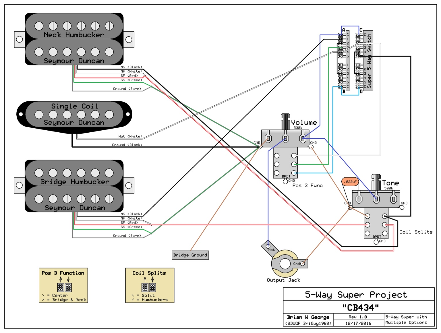 5 Way Super Switch Wiring Diagram Wiring Diagram DIY Wiring 2 Humbuckers And A Single Pick Up On To A 5 Way Switch  sc 1 st  Zielgate.com : strat super switch wiring diagrams - yogabreezes.com