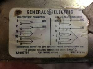 Need help wiring GE motor  220v