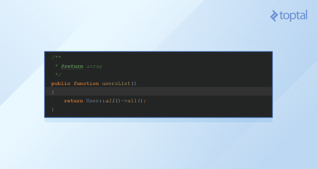 The basic PHPDoc template for our User class.