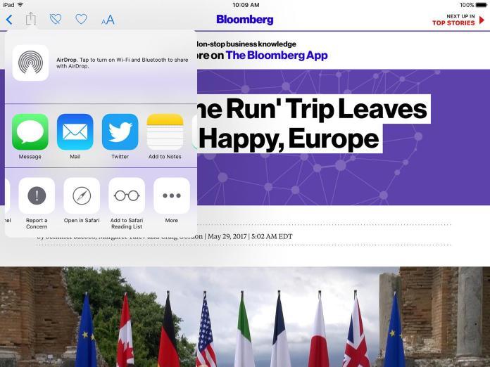 Apple News iPad App share menu is great interaction design