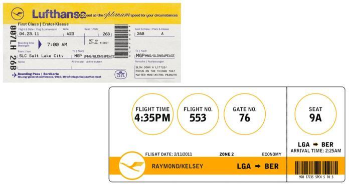 Lufthansa boarding pass redesign for better interaction design