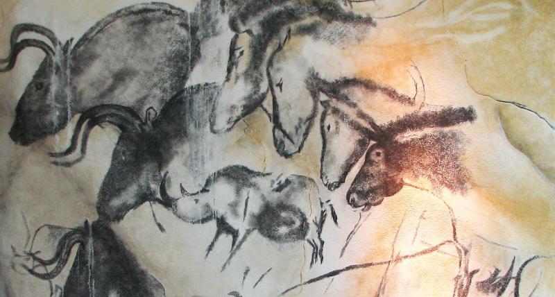 Pintura prehistórica en la cueva de Chauvet, Francia
