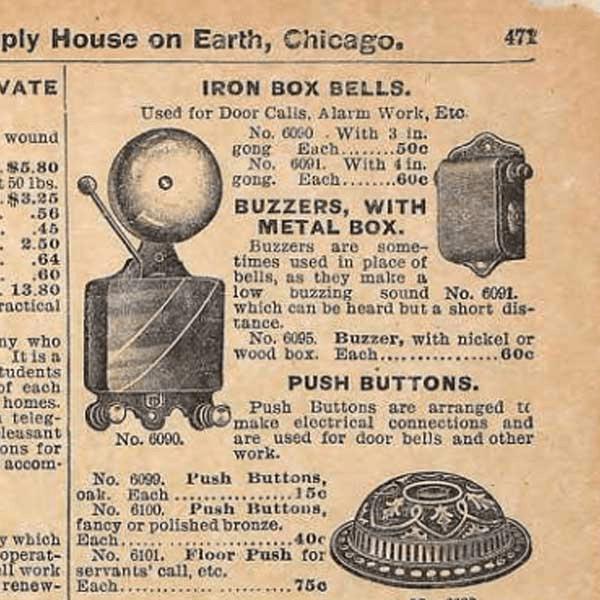 Imagen escaneada de Sears First Electric Buzzer 1897 Catálogo de otoño