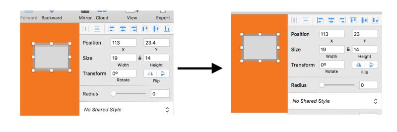 iOS UI design tutorial: Pixel fitting on/off example