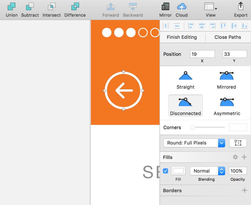 Tutorial de diseño de la UI de iOS: edición de objetos vectoriales