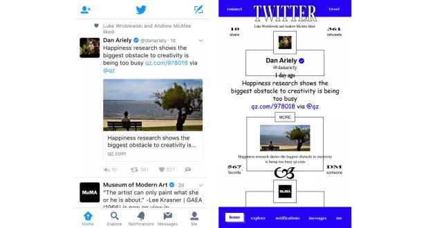Ejemplo de diseño de aplicación de estilo brutalista de Twitter