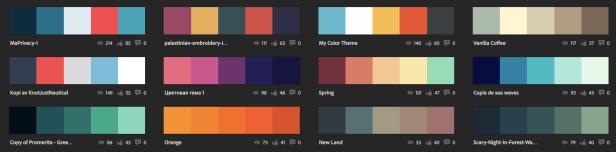 Diferentes paletas de colores de logotipo en Adobe Color CC