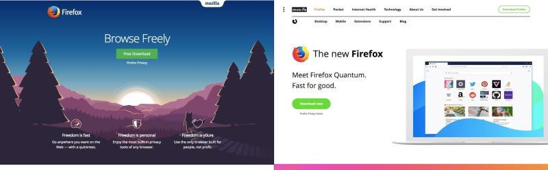 Mozilla, antes y después del rediseño de su sitio web