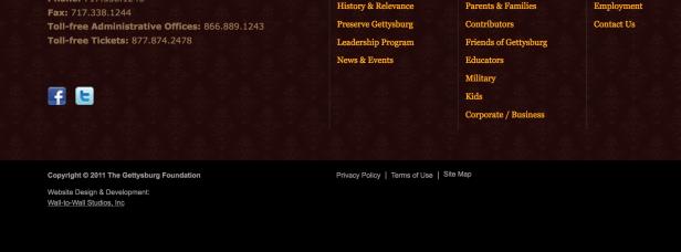 Un sitio web con una fecha de copyright muy desactualizada