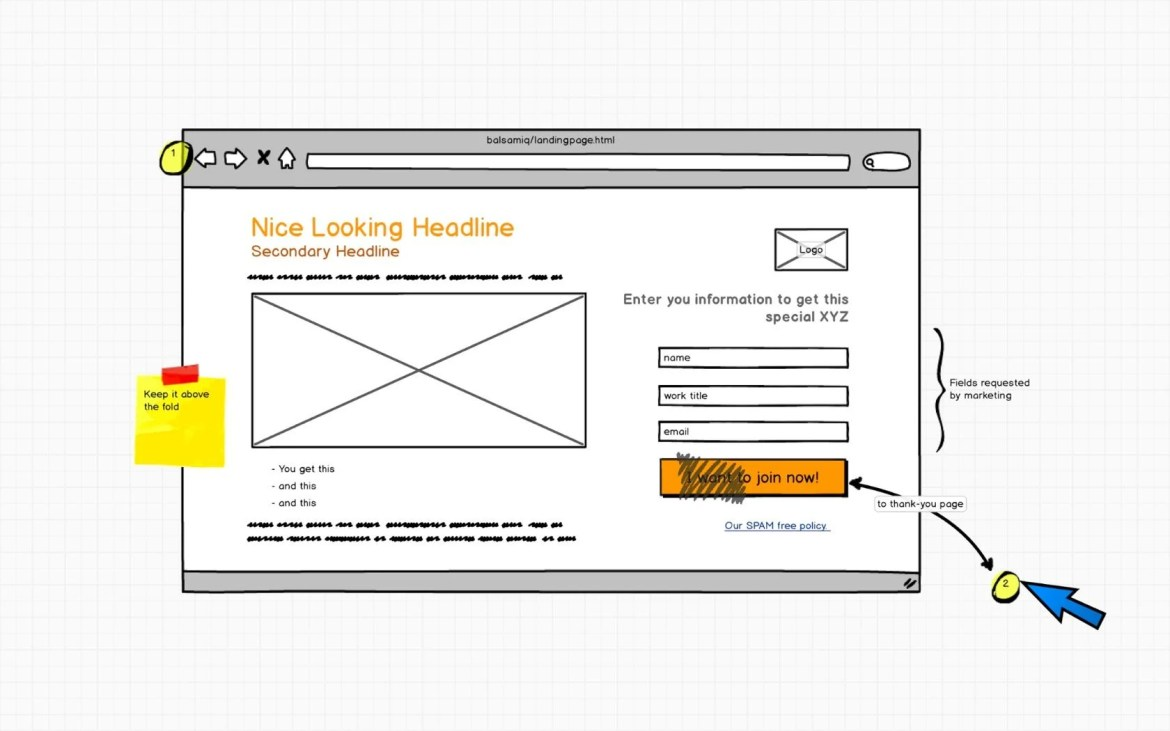 A wireframe made in Balsamiq