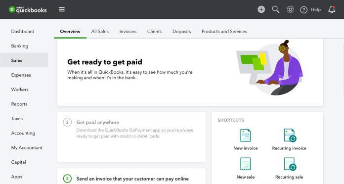 Screenshot of Quickbooks invoicing for ux design consultant
