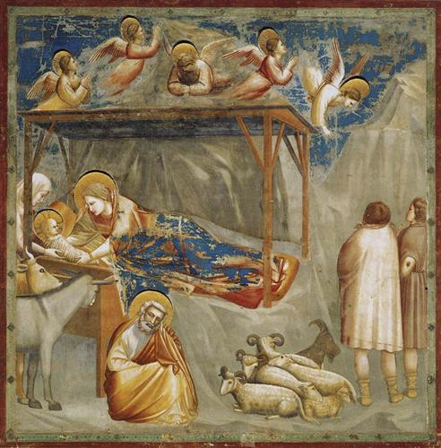 "Giotto's ""Nativity, Birth of Jesus"" from Scrovegni (Arena) Chapel, Padua, Italy c. 1304-1306."