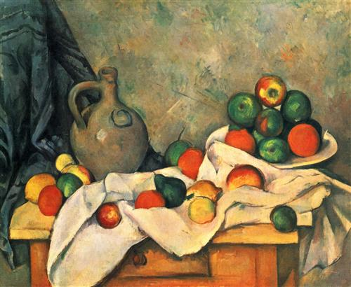 Curtain, Jug and Fruit - Paul Cezanne