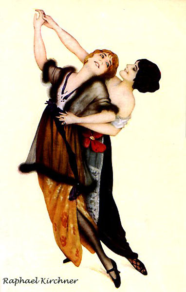 Two female tango dancers, Raphael Kirchner, 1914.