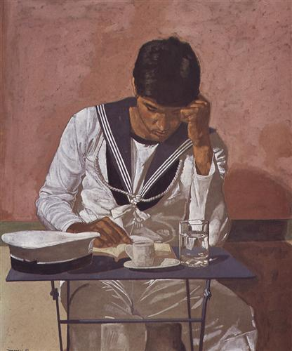 Mariner reading on pink background - Yiannis Tsaroychis