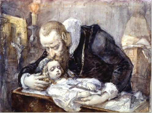 Jan Kochanowski over the dead body of his daughter - Jan Matejko