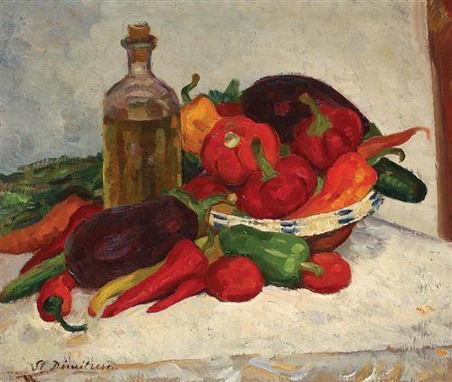 Still Life with Ripe Vegetables - Stefan Dimitrescu