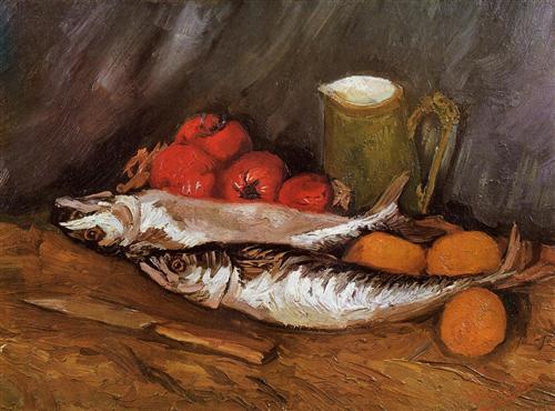 Still Life with Mackerels, Lemons and Tomatoes - Vincent van Gogh