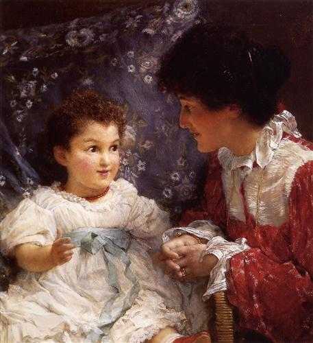 Mrs George Lewis and Her Daughter Elizabeth - Sir Lawrence Alma-Tadema