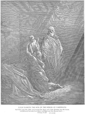 Elijah Raises the Son of the Widow of Zarephath - Gustave Dore