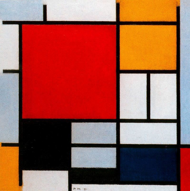 Piet Mondrian - Large Red Plane, Yellow, Black, Gray and Blue, 1921