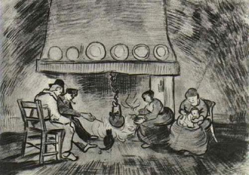 Interior of a Farm with Figures at the Fireside - Vincent van Gogh
