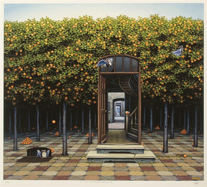 Jacek Yerka, Sad pomarańczowy, https://i2.wp.com/uploads4.wikiart.org/images/jacek-yerka/orange-grove.jpg!Large.jpg