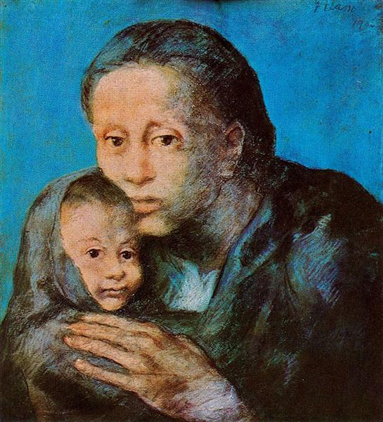 Mother and son with handkerchief, 1903 - Pablo Picasso