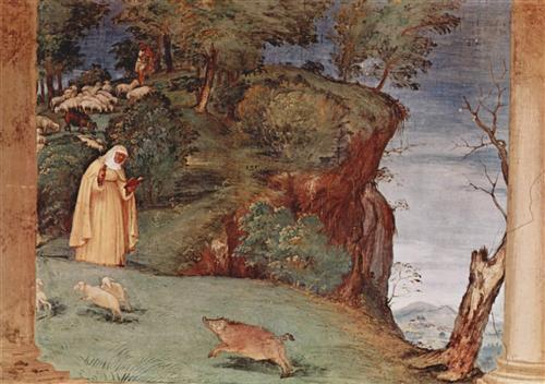 Frescoes in the Oratory Suardi in Trescore, scene of the blessing of St. Brigid of Kildare - Lorenzo Lotto