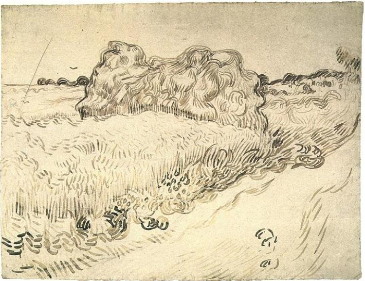 Wheat Field With A Stack Of Wheat Or Hay 1890 Vincent