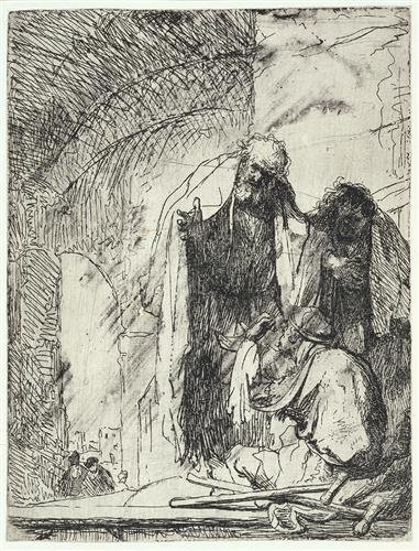 Peter and John at the gate of the Temple - Rembrandt