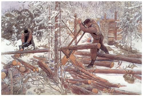 Woodcutters in the forest - Carl Larsson