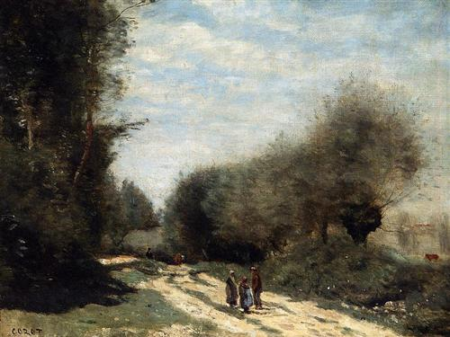 Crecy en Brie Road in the Country - Camille Corot