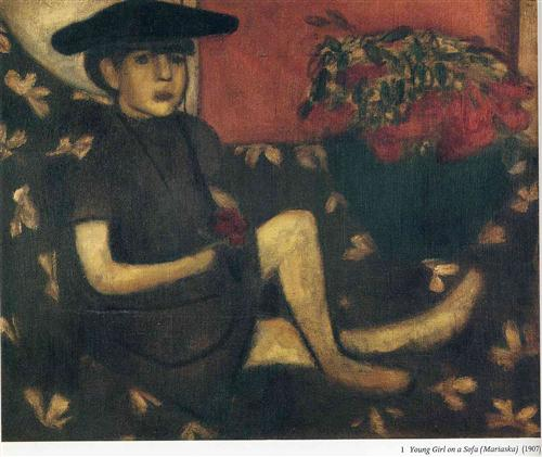 Young Girl on a Sofa (Mariaska) - Marc Chagall