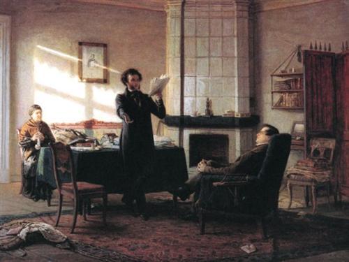 Pushkin en Mijáilovskoye, por Nikolai Gue.