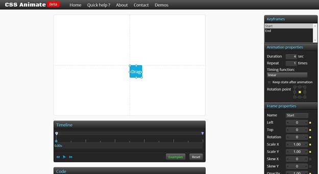 3 CSS3 Keyframes Animation Generator - 15 ferramentas para animação CSS3 que todo programador deve conhecer