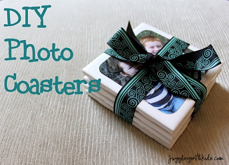 photo coaster diy for dad on christmas