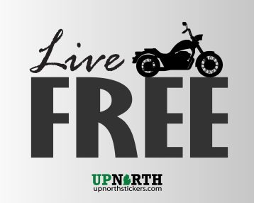 Motorcycle - LIVE FREE - Vinyl Decal - Multiple Sizes
