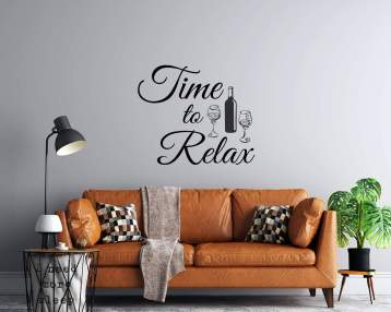 Time To Relax - Wine Bottle and Glasses - Vinyl Wall Decal - Custom Sizing Available - Free Personalization