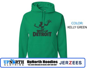 UpNorth Hoodies - Spirit of Detroit - Hooded Pullover Sweatshirt - TALL SIZES Available - Detroit Michigan