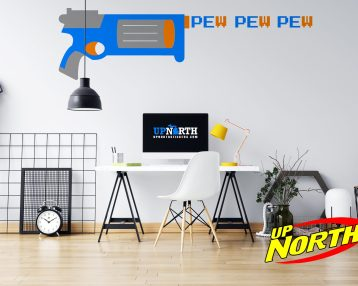 Revolver with Pew Pew - Foam Dart Gun - Custom Vinyl Wall Decal - Made to Order - Free Shipping