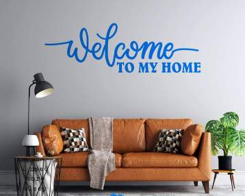Welcome To My Home - Cursive Text - Custom Vinyl Wall Decal - Free Shipping